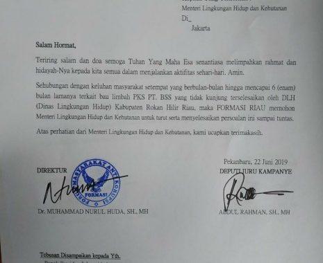 FORMASI RIAU Surati Menteri LHK Terkait Dugaan Pencemaran Lingkungan PT. BSS