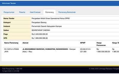 Sekwan DPRD Kampar Tidak Tahu Pengadaan Mobil Rp 2,4 M