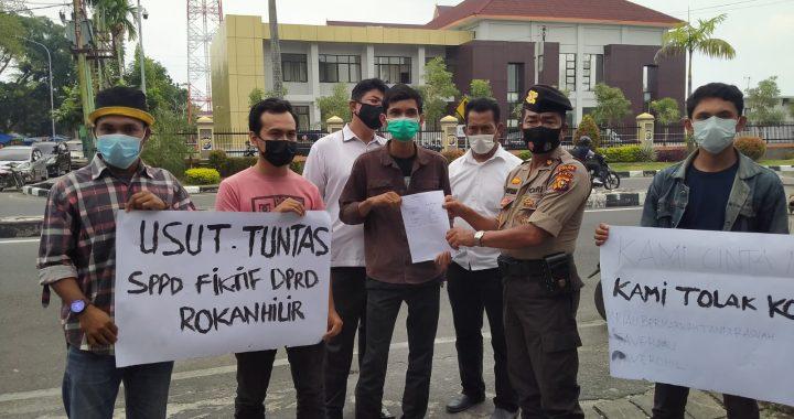 Terkait Dugaan SPPD Fiktif Dewan Rohil Mahasiswa Demo Polda Riau